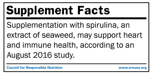 Supplementation with spirulina, an extract of seaweed, may support heart and immune health, according to an August 2016 study.