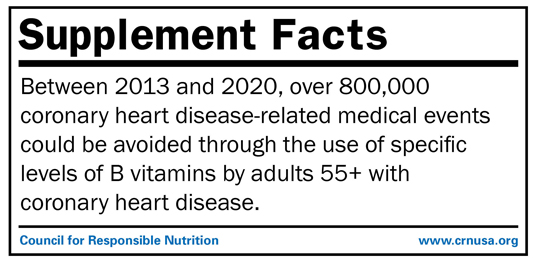 •	Between 2013 and 2020, over 800,000 coronary heart disease-related medical events could be avoided through the use of specific levels of B vitamins by adults 55+ with coronary heart disease.